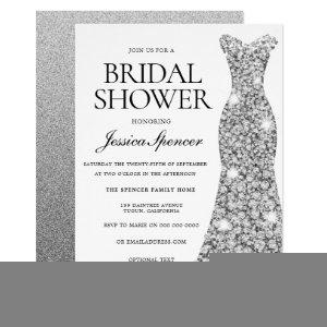 Elegant Silver Sparkle Dress Bridal Shower Invite starting at 2.40
