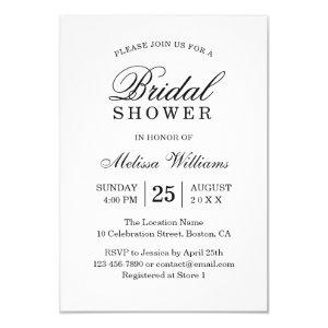 Elegant Simple Plain Black and White Bridal Shower Invitation starting at 1.95