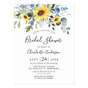 Elegant Sunflowers Eucalyptus Bridal Shower Card starting at 1.25