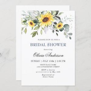 Elegant Sunflowers Eucalyptus BRIDAL SHOWER Invitation starting at 2.35