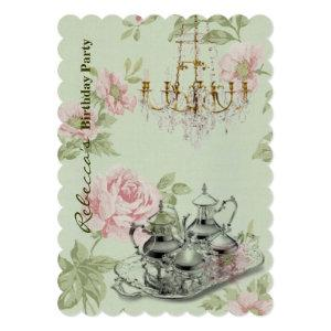 elegant  tea cup vintage floral birthday party invitation starting at 3.02
