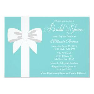 Elegant Teal Blue White Ribbon Bridal Shower Invitation starting at 2.51