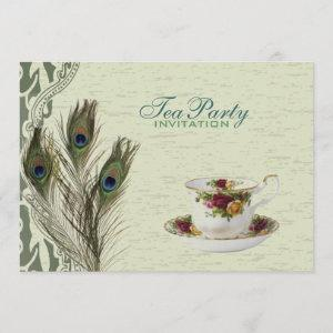 elegant vintage country green peacock tea party invitation starting at 2.77