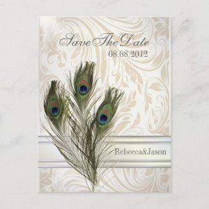 elegant vintage damask peacock Save the date Announcement Postcard starting at 1.90