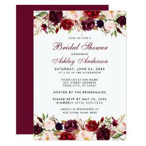 Elegant Watercolor Floral Burgundy Bridal Shower Invitation starting at 2.51