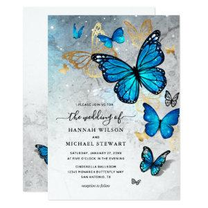 Elegant Watercolor Gold Blue Butterfly Wedding Invitation starting at 2.82