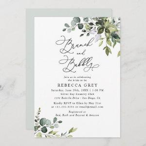Elegant Watercolor Greenery Brunch & Bubbly Shower Invitation starting at 2.45