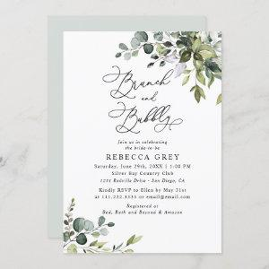 Elegant Watercolor Greenery Brunch & Bubbly Shower Invitation starting at 2.30