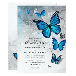 Elegant Watercolor Silver Blue Butterfly Wedding Invitation starting at 2.82