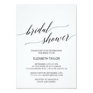 Elegant White and Black Calligraphy Bridal Shower Invitation starting at 2.51