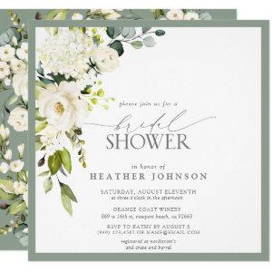 Elegant White Gray Green Watercolor Bridal Shower Invitation starting at 2.30