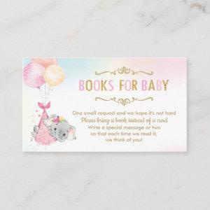 Elephant Balloons Baby Shower Bring a Book Instead Enclosure Card starting at 0.24