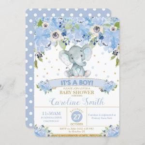 Elephant Blue Floral Baby Shower Baby Boy Invitation starting at 2.60
