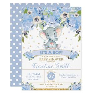 Elephant Floral Baby Shower Invitation Boy starting at 2.40