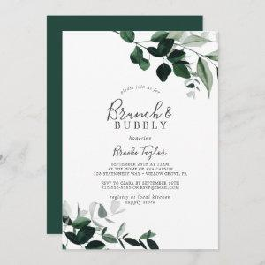 Emerald Greenery Brunch and Bubbly Bridal Shower Invitation starting at 2.51
