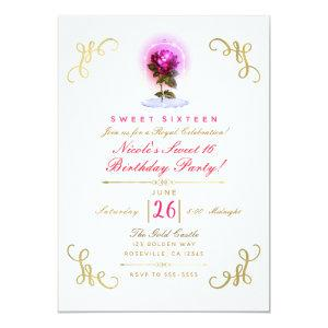 Enchanted Red Rose Floral Gold Sweet 16 Party Invitation starting at 2.82