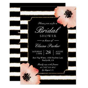 Ethereal Peach Magnolia Stripe Wedding Black White Invitation starting at 2.40