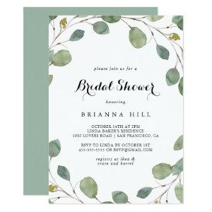 Eucalyptus Foliage Calligraphy Bridal Shower Invitation starting at 2.51