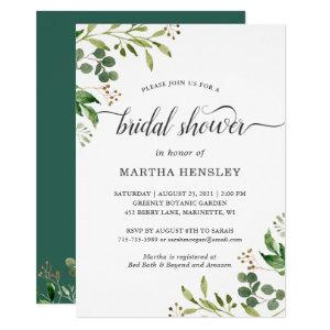 Eucalyptus Green Leaves Nature Look Bridal Shower Invitation starting at 2.05
