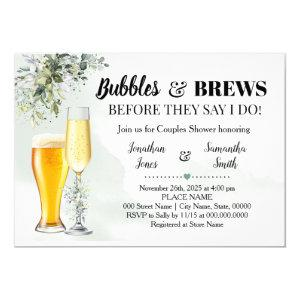 Eucalyptus greenery bubbles and brews shower invitation starting at 2.55