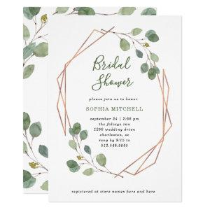 Eucalyptus Greenery | Rose Gold Geo Bridal Shower Invitation starting at 2.15