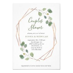 Eucalyptus Greenery | Rose Gold Geo Couples Shower Invitation starting at 2.15