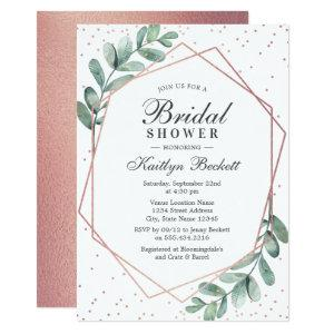 Eucalyptus Rose Gold Geometric Bridal Shower Invitation starting at 2.51