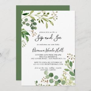 Eucalyptus Simple Brown Floral Sip and See Invitation starting at 2.51