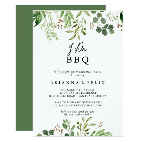 Eucalyptus Simple Floral I Do BBQ Engagement Party Invitation