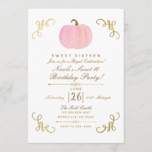 Fall Autumn Pink Sparkle Pumpkin Sweet 16 Party Invitation starting at 2.66