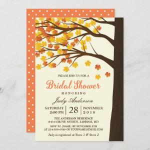 Fall Bridal Shower Classy Maple Leaves Autumn Tree Invitation starting at 2.30
