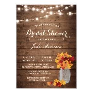 Fall Bridal Shower | Rustic Wood Mason Jars Lights Invitation starting at 2.10