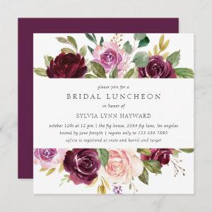 Fall Floral Plum Purple Flowers Bridal Luncheon Invitation starting at 2.41