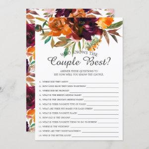 Fall Floral Who Knows the Couple Best Bridal Game starting at 2.40