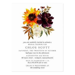 Fall Flowers Bridal Shower Invitation Postcard starting at 1.20