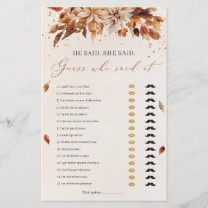 Fall Flowers He said She said Bridal Shower Game starting at 0.71