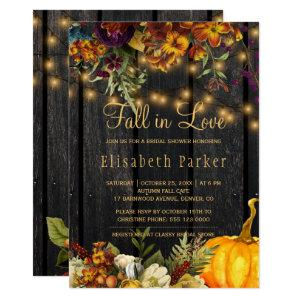 Fall in Love autumn floral barn wood bridal shower Invitation starting at 2.20