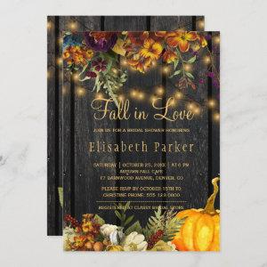 Fall in Love autumn floral barn wood bridal shower Invitation starting at 2.45