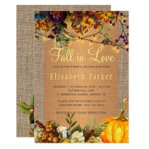 Fall in Love autumn floral burlap bridal shower Invitation starting at 2.45