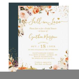 Fall in Love Autumn Gold Chic Floral Bridal Shower Invitation starting at 2.10