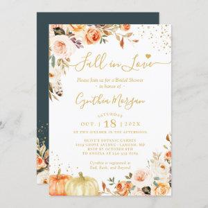 Fall in Love Autumn Gold Chic Floral Bridal Shower Invitation starting at 2.30