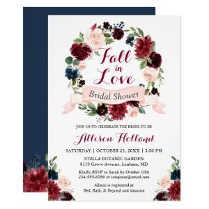 Fall in Love Bridal Shower Burgundy Floral Wreath Invitation starting at 2.40