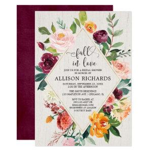 Fall in love bridal shower geometric rustic floral invitation starting at 2.55