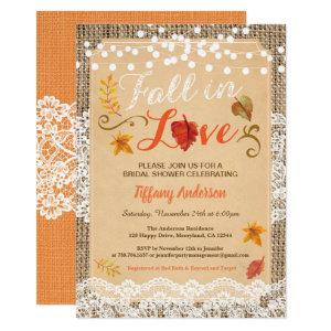 Fall in love bridal shower rustic burlap vintage invitation starting at 2.40
