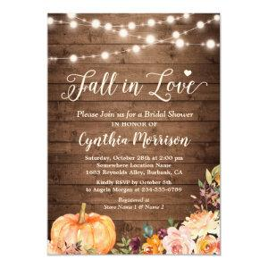 Fall in Love Bridal Shower Rustic Pumpkin Floral Invitation starting at 2.40