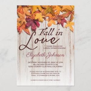 Fall in Love Bridal Shower Wood Autumn Leaves Invitation starting at 2.40