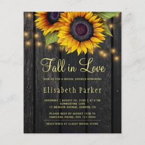 Fall in love budget sunflower bridal shower invite starting at 0.61