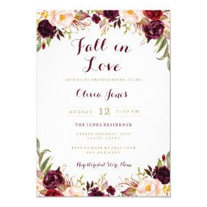Fall in Love Burgundy Floral Bridal Shower Card starting at 2.50