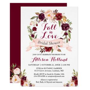 Fall in Love Burgundy Floral Wreath Bridal Shower Invitation starting at 2.40