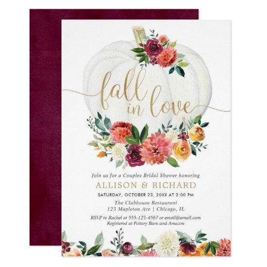 Fall in love burgundy gold couples bridal shower